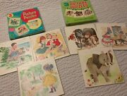 2 Vintage Whitman Set Of 3 Tell A Tale Picture Board Puzzles Animals Kids 1960's