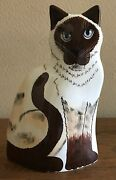 """Cats by Nina Lyman Side Sitting Siamese Cat Hand Painted Art Pottery 11"""" Vase"""