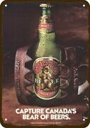 1985 Grizzly Beer Bottle In Bear Trap Vintage Look Decorative Replica Metal Sign