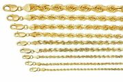 Solid 10k Yellow Gold Rope Chain Necklace 18- 30 Length 1mm-5mm Thick Real