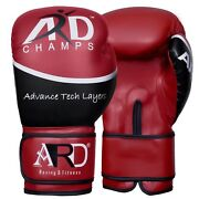 2fitandreg Art Leather Boxing Gloves Fight Punching Bag Mma Muay Thai Kickboxing- Red