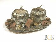 Vintage Sterling Silver Pumpkin Salt And Pepper Shakers On Tray - Mexico
