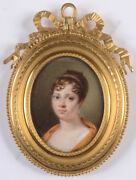 Jean-baptiste Jacques Augustin-attrib. Young Lady With Scarf, Fine Miniature