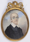 George Engleheart-school Cleric Wearing Glasses High Quality Miniature 1800