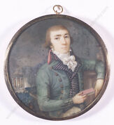 Young Aristocrat In Park Landscape French Miniature 1795/1800