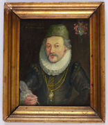 Lorenz Strauch-circle Portrait Of A Nobleman Oil On Wood Miniature 1614