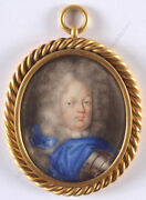Friedrich Wilhelm I Of Prussia Important Miniature On Playing Card Ca.1715