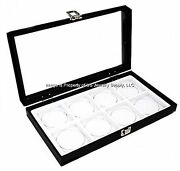 12 Glass Top Lid White 8 Space Organizer Display Boxes Cases Bangle Pins Medals