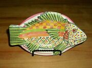 "MACKENZIE CHILDS Pottery ""Fish Story"" Vintage Ceramic Colorful Fish Dish 7.75"""