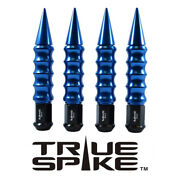24 True Spike 7.5 14x1.5 Steel Lug Nuts Blue Extended Big Fat Ribbed Spikes