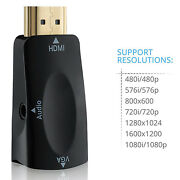 Hdmi To Vga Converter Adapter+audio 1080p For Laptop Monitor Tv Pc Hdtv Xbox Ps3