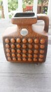 Great Vintage Midcentury Modern Ceramic Pitcher Vase – Rust Brown Geometric