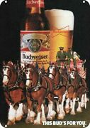 1985 Budweiser Beer Clydesdale Horse Dalmatian Dog Decorative Replica Metal Sign