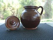 VINTAGE OLD HANDMADE CLAY POT WITH LID SIGNED IN EUC GLAZED INSIDE AND OUT