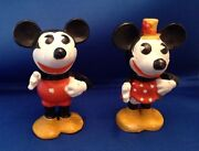 Mickey Andminnie Mouse Movable Arm Toothbrush Holder 1930and039s Bisque Figures