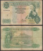 Mauritius 25 Rupees 1967 F Condition Banknote Km 32 Qeii Paper Money