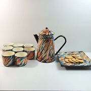 Studio Art Pottery Tea Set Artist Signed Teapot Cups Cracker Tray Tiger Striped