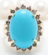 Women Natural Turquoise And Champagne Diamonds 8.83 Ctw In 14k Yellow Gold Ring