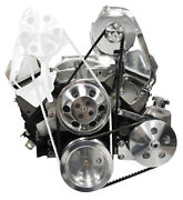 Sws Sbc Polished Front Engine Kit,chevy,power Steering Pump,alternator,water