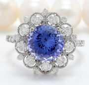 5.18ctw Natural Blue Tanzanite And Diamond In 14k Solid White Gold Women Ring