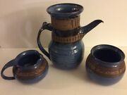 Groundhog Blues Studio Art Pottery Coffee Pot, Creamer, Sugar Bowl Pennsylvania