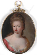 Portrait Of A Lady French Oil On Copper Miniature Ca.1700