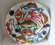 "La Spiga Hand Painted Sea Animal Large Round Platter 22"" Hanging Capable"