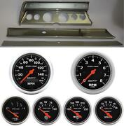 67 Chevelle Silver Dash Carrier W/ Auto Meter Sport Comp Electric Gauges