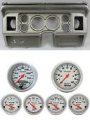 80-86 Ford Truck Silver Dash Carrier W/ Auto Meter Ultra-lite Electric Gauges