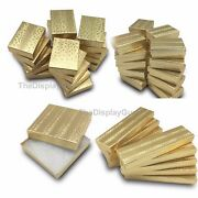 Gold Foil Cotton Filled Gift Boxes Jewelry Cardboard Box Lots Of 122550100