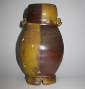 STUDIO ART POTTERY FOOTED VASE by LISTED POTTER ARTIST MAUREEN MILLS circa 2005