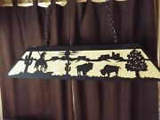 X Lrg Laser Cut End Of The Trail Indian Pool Table Light Lamp Hunt Cabin Black