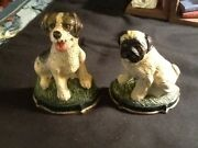 Adorable Vintage Cast Iron Dog Figurines Or Bookends