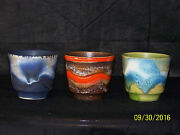 West German Keramik Studio Fat Lava Mid Century Art Pottery 3 Plant Pots