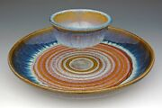 """BILL CAMPBELL Art Pottery 11.75"""" Chip and Dip Set  Porcelain  OUTSTANDING !"""