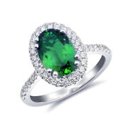 Natural Chrome Tourmaline 1.93 Carats Set In 14k White Gold Ring With Diamonds