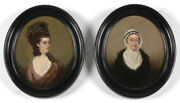 Daniel Gardner-circleportraits Of A Lady And Her Mother2 Large Oil Miniatures