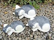 Hand Carved Made Wooden Grey Sleeping Cat Cats Set Of 3 Sculpture Ornaments