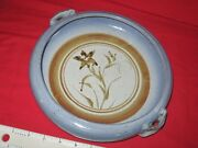 "Rare SIGNED John DODERO Pottery Dish Bowl 35 yrs old 10""turned clay ceramic blue"