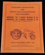 Allis Chalmers G Tractor 1 Disc Turning Plow Ownerand039s And Parts Manual Ac Disk