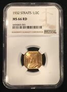 1932 Straights Settlements Half Cent Ngc Ms 66 Red Superb Finest Graded