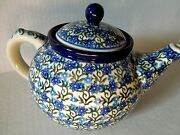 New C.A. Polish Pottery Teapot-Holds 5 Cups-Daisy Lace