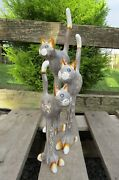 Hand Carved Made Wooden Tall Cat Cats Statues Set Of 3 Sculpture Ornaments