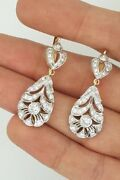 Russian Style 14k Yellow And White Gold Two Tone Hanging Drop Diamond Earrings Vs1