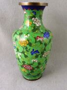 Chinese Cloisonné Vase Floral Green Background