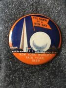 1939 New York Worlds Fair Rare Large Pin The Dawn Of A New Day