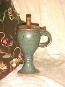 VINTAGE Art Pottery Vase with Flower Frog Drip Glaze SPECKLED 7 1/2 INCH TALL