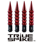 32pc True Spike 187mm 14x1.5 Forged Steel Lug Nuts W/ Red Ribbed Spikes
