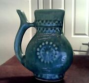 Rare Art Pottery 1983 Ceramic  Clay Water Pitcher Jug silver ink signed