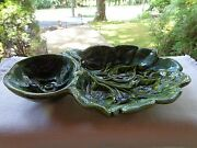 Vintage California Pottery Green Leaf Chip & Dip #113  Beaufitul Condition!